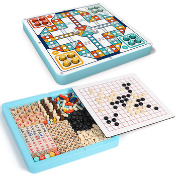 Aeroplane Chess Checkers Five-in-a-Row Animal Checker Childrens Toys Educational Pupils Multi-Function Desktop Games