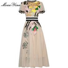 Midi Dress Short-Sleeve Mesh Sequins Moaayina Fashion Runway Embroidered Summer Vintage