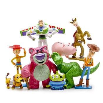 [Divertido] 9 Uds colección completa Sheriff Woody Buzz Lightyear Jessie Hamm Rex perro furtivo el señor cabeza de patata muñeco de acción conjuntos