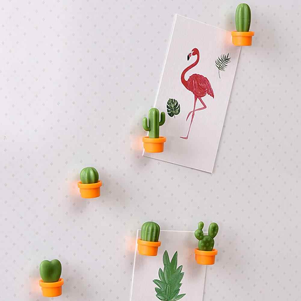 fashion 6Pc Cartoon Plant Cactus Shaped Magnetic Fridge Stickers Home Kitchen Decals magnetic sticky to fridge easily super cute