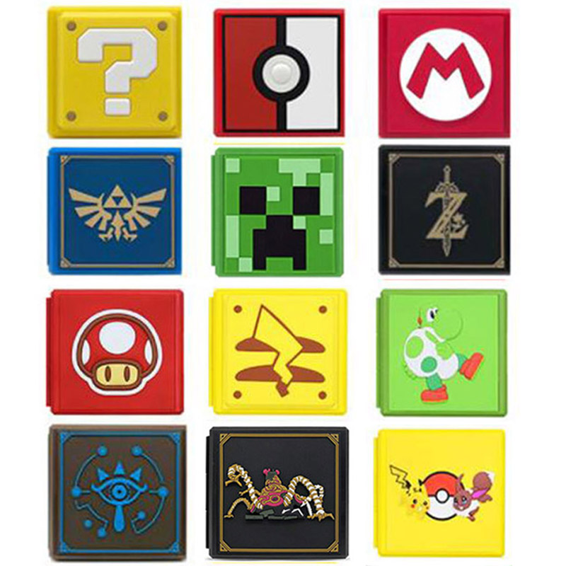 Hard Shell Momery SD 12 Game Cards Storage Box Holder Cartoon Container for Zelda Mario Nintend Switch NS Protective Case Cover Cases     - title=