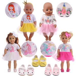 Cute Unicorn Dress + Headwear + Shoes Fit 18 Inch American Doll & 43 45 CM Baby Doll Clothes,Girl,Our Generation & 40 cm Nenuco(China)