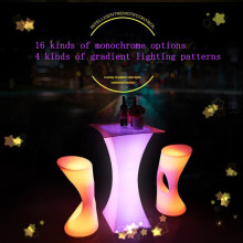 Качественный перезаряжаемый светодиодный светящийся журнальный столик ip54 Водонепроницаемый Пластиковый журнальный столик с пультом дистанционного управления цветной барный столик