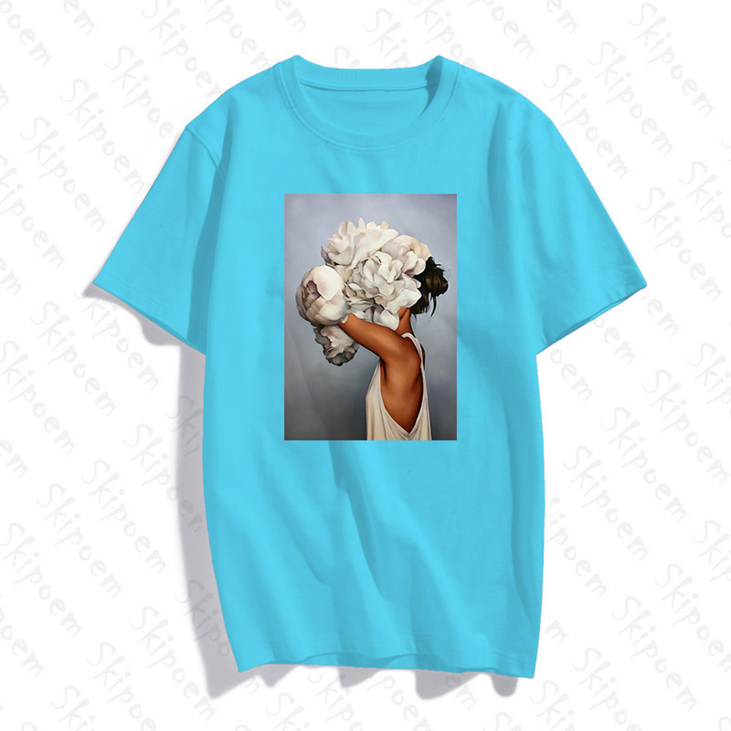 New Cotton Fashion Tshirt Sexy Flowers Feather Women Harajuku Modern Aesthetics Art Print Short Sleeve Tops Tees Casual T Shirt