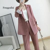 Work Pant Suits OL 2 Piece Sets Double Breasted Plus Size 5XL Blazer Jacket Oversized Trousers Suit For Women Set