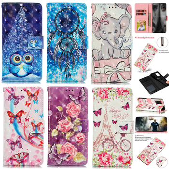 Leather Case For Samsung Galaxy S7 S8 S9 S10 S20 Plus Ultra FE A6 A7 A8 J4 J6 2018 3D Butterfly Flower Elephant Phone Book Cover image