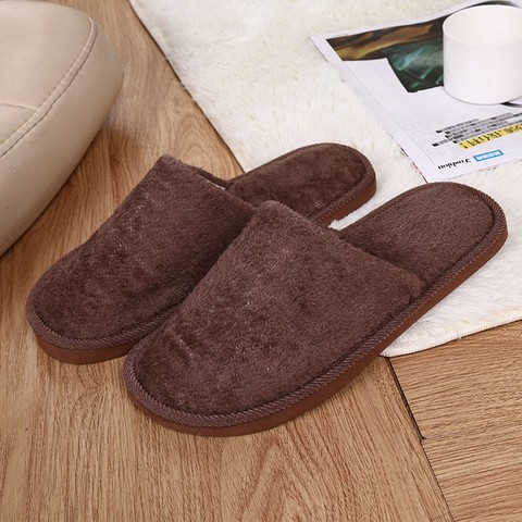 Slippers Men Winter Fleece House Shoes Floor Lovers Home Shoes Warm Soft Flats Solid  Men Shoes Indoor Slip-On Shoes  #YL5 Lahore
