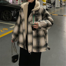 Odzież jesienno-zimowa nowa damska odzież wierzchnia w stylu koreańskim luźna moda studencka gruba wełna jagnięca bawełniana kurtka bawełniana tanie tanio NKSFFA CN (pochodzenie) Zima Osób w wieku 18-35 lat One size lattice Commute Korean version POLO collar zipper Khaki blue rose pink