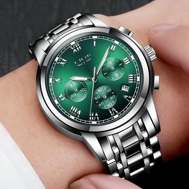 New 2020 LIGE Fashion Green Mens Watches Top Brand luxury Quartz Watch Men All Steel Waterproof Sport Quartz Watch for Man Clock