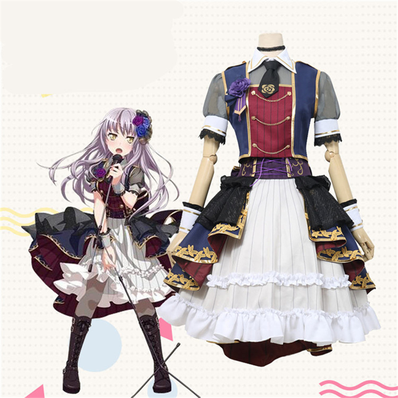 Anime BanG Dream Yukina Minato 7th-LIVE Roselia Stage Dress Cosplay Costume Halloween Party Suit H