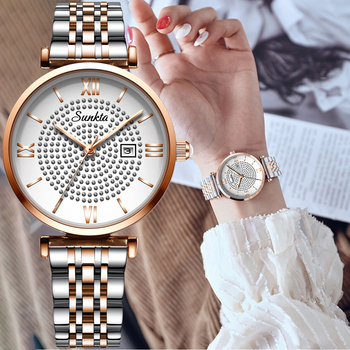 sunkta Luxury brand Women watches stainless steel watch woman business watch women Analog Casual Waterproof Quartz Watches+Box
