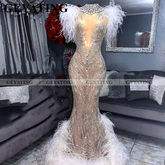 Luxury White Feathers Mermaid Black Girls Prom Dresses Glitter Silver Crystal Sexy Long Graduation Gowns African Formal Dresses