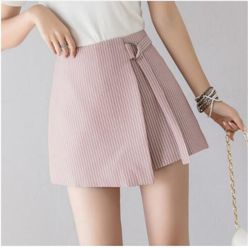2019 New Korean Lace-Up Stripe Shorts Skirts Womens Spring Summer Fashion High Waist Shorts Ladies Casual Culottes