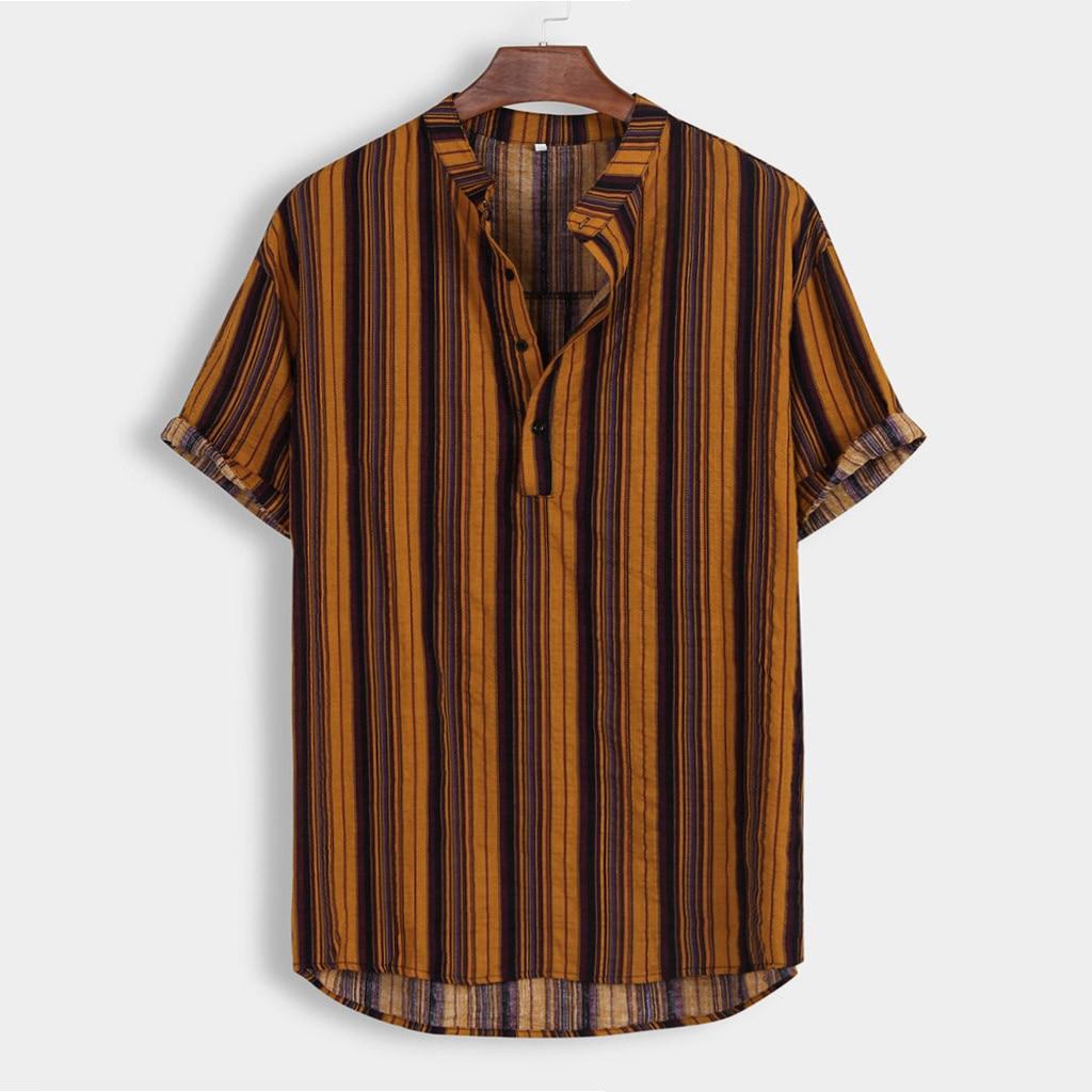 Summer Men's Stripe Short Sleeve Shirts Hawaii Casual Stand Collar Colorful Fashion Shirt Male Cotton Beach Hawaiian Shirts 1
