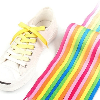 1Pair Colorful Shoelaces Candy Gradient Party Camping Boots Shoe laces Canvas Strings Silk ShoeLace 100/120CM Length