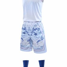 Hot selling men's basketball suit youth reversible sportswear men's training basketball shirt shorts sleeveless training suit
