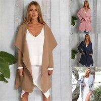 Women Coat Autumn Winter Trench Outwear Long Sleeve Pea Coat Lapel Open Front Warm Belt Long Trench Overcoat