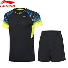 Li-Ning Для мужчин бадминтон костюмы для состязаний в сухом дышащий 89% полиэстер 11% спандекс подкладка Спортивная футболка+ шорты AATP043 COND19