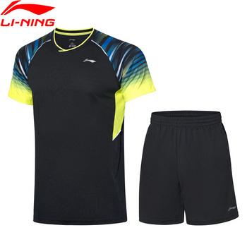 Li Ning mężczyźni do badmintona garnitury na pranie oddychająca 89 poliester 11 elastan podszewka sportowe T-Shirt + spodenki AATP043 COND19 tanie i dobre opinie LINING