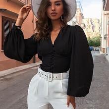 Tops Womens Female Elegant Long Sleeve Black Blouse Shirt Ca