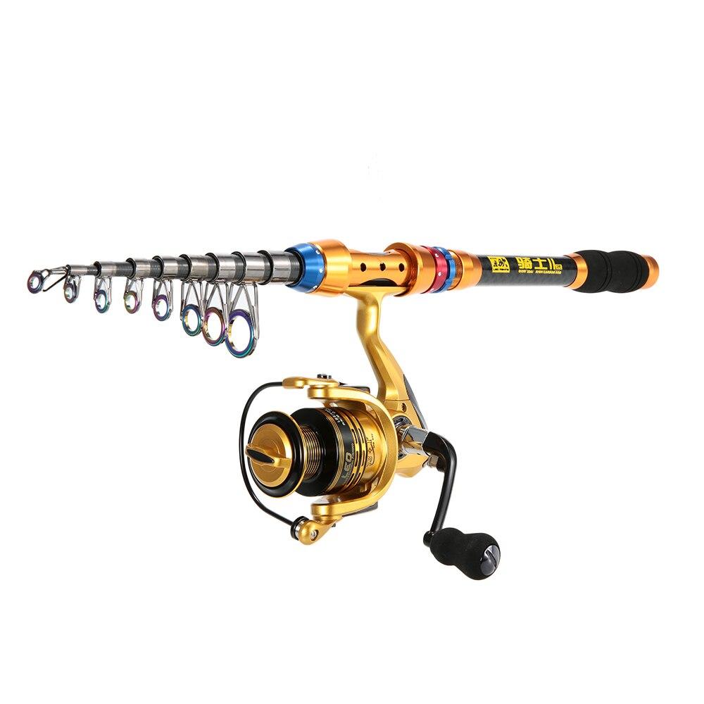 Fishing SetRod Pole Set with Reel Line Lures Hooks Lure Rod Set Spinning Rod Fishing Reel Combos Full Kit Telescopic Set|Rod Combo| |  - title=