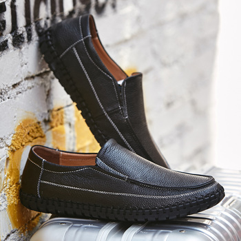 Prawdziwej skóry buty męskie duże buty na co dzień mieszkania męskie buty duży rozmiar mokasyny męskie mokasyny miękkie czarny Slip-On buty do jazdy samochodem tanie i dobre opinie KAXIN Skóra bydlęca Gumowe Świńskiej Yut-922-mens shoes genuine leather Stałe Wiosna jesień Dla dorosłych Pasuje prawda na wymiar weź swój normalny rozmiar