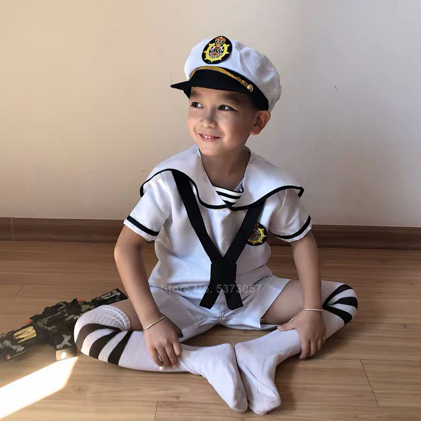 90-170cm Kids Student School Uniform Halloween Costumes For Boys Girl Japanese Navy Sailor Cosplay Suit Choir Performance