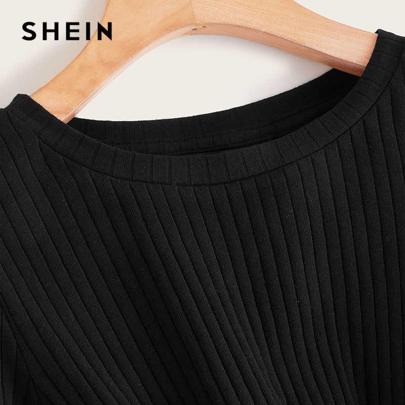 SHEIN однотонная трикотажная укороченная футболка с длинными рукавами и круглым вырезом на осень-зиму, повседневная Милая футболка