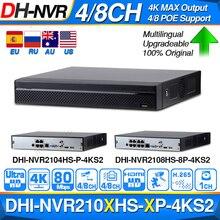 Dahua NVR2104HS P 4KS2 NVR2108HS 8P 4KS2 4ch 8ch poe nvr 4 k 레코더 지원 cctv 시스템 보안 키트에 대 한 hdd 4/8ch poe.