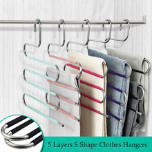 Hangers Cloth-Rack Pants Closet-Organizer Storage Multilayer Stainless-Steel S-Shape