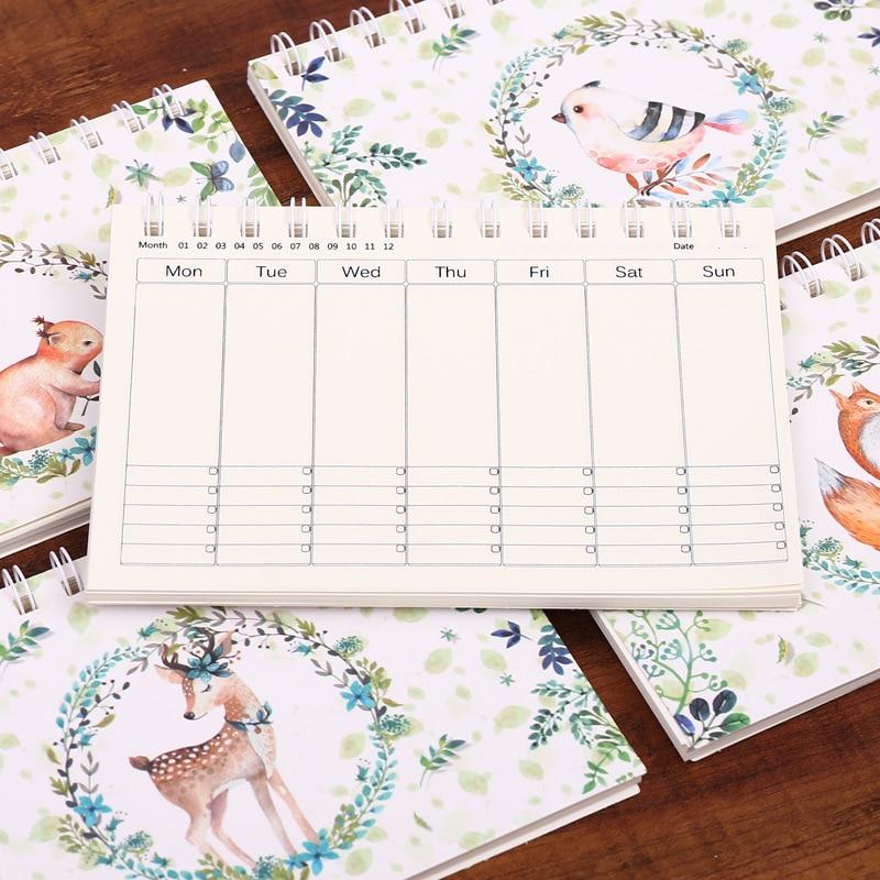 Animal Notebook Deer Weekly Planner Kawaii Bullet Journal Spiral Agenda 2020 Sketchbook Caderno Diary Libretas Cuadernos Papelar