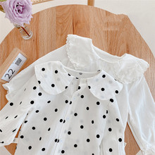 Tops Shirts Clothing Baby-Girl Cotton for Kids Spring Turn-Down-Collar Long-Sleeve Casual