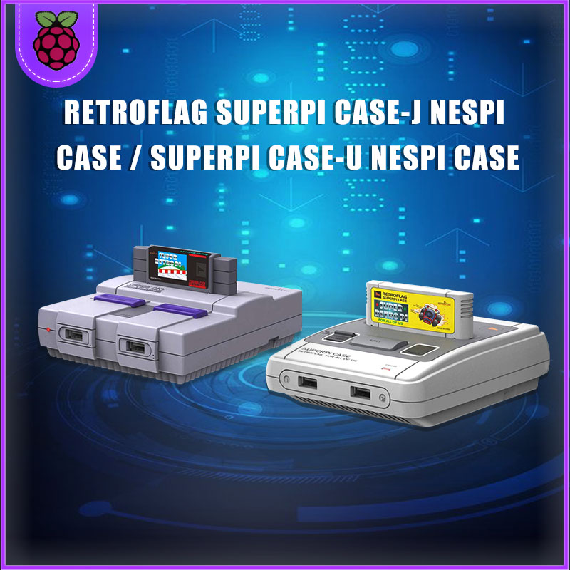 Retroflag SUPERPi CASE-J/CASE-Uwith Classic USB Controller-J /Controller-U +fan+heatsink For Raspberry Pi 3B Plus (3B+)/3B