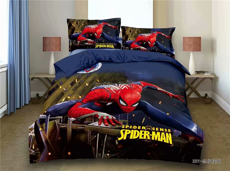 New Arrival Spiderman 3d Bedding Set Kids Lovely Bed Linen Minions Pikachu Character Duvet Cover Set Single Twin Full Bedclothes