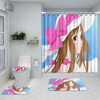 NYAA 4 Pcs Widowmaker Shower Curtain Pedestal Rug Lid Toilet Cover Mat Bath Mat Set For Bathroom Decor