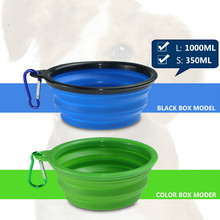 Manufacturers directly sell large and small folding silica gel pet bowl dog out portable custom products