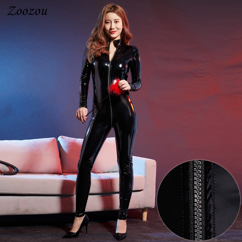 Women Sexy PU Patent Leather Jumpsuits Latex Catsuit Exotic Open Crotch Stage Performance Costume Black Erotic Bodysuits Rompers