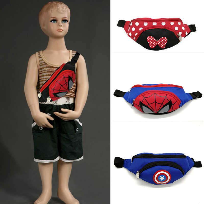 Neue Jungen Und Mädchen Fanny Pack Trend Taille Taschen Für Kinder Minnie Kinder Fanny Pack Spiderman Einstellbare Banana Tasche Schulter niere Tasche