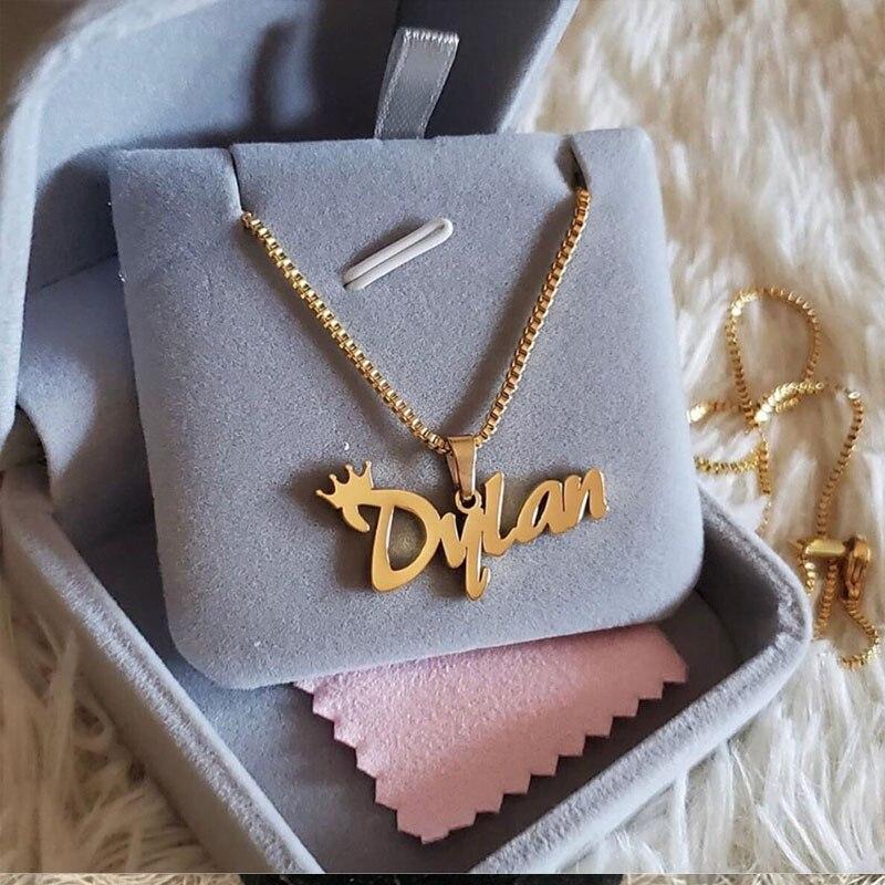 Индивидуальная цепочка из нержавеющей стали с именем, ожерелья, подвески, персонализированные ювелирные изделия, подарки для женщин и мужч...