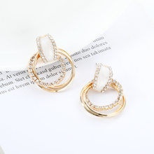 2019 Stylish New Pure Silver Korean Opal Water Diamond Simple Multilayer Ring Earrings Earrings(China)