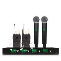 Sistema de microfone sem fio 2 microfones de ouvido 2 microfones portáteis para microfones de desempenho de palco sem fio