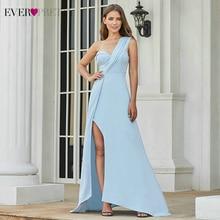 Сексуальные синие платья для выпускного вечера Ever Pretty EP07179BL, с одним плечом, с разрезом по бокам, с рюшами, без рукавов, Платья для вечеринок, Vestidos De Fiesta
