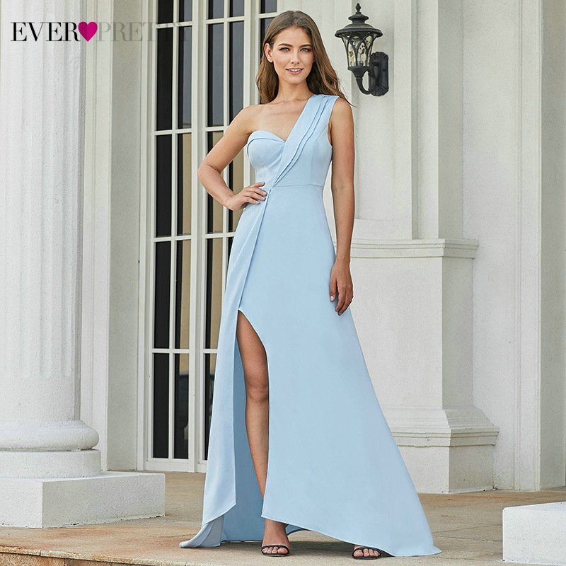 Sexy Blue Prom Dresses Ever Pretty EP07179BL One-Shoulder Side Split Ruffles Ruched Sleeveless Party Dresses Vestidos De Fiesta