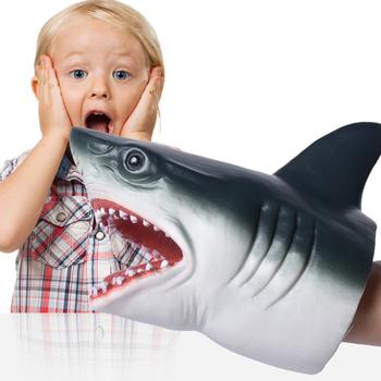 1 sztuk miękkie rekin pacynka głowa zwierzęcia rękawiczki rekin Model świąteczny noworoczny prezent dla dzieci tanie i dobre opinie CN (pochodzenie) RUBBER 3 lat Unisex silicone Shark Hand Puppet none shark puppet finger puppets titeres cuentos infantiles educativos