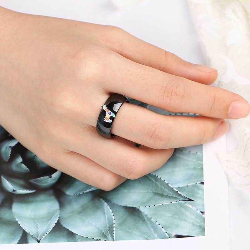 Güzel renkli Elk seramik yüzük 925 ayar gümüş 8mm genişlik pürüzsüz seramik halka klasik siyah beyaz renk kadın takı