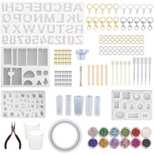 186 peças de silicone moldes de fundição de resina starter kit, número do alfabeto molde de silicone e conjunto de ferramentas para jóias de resina