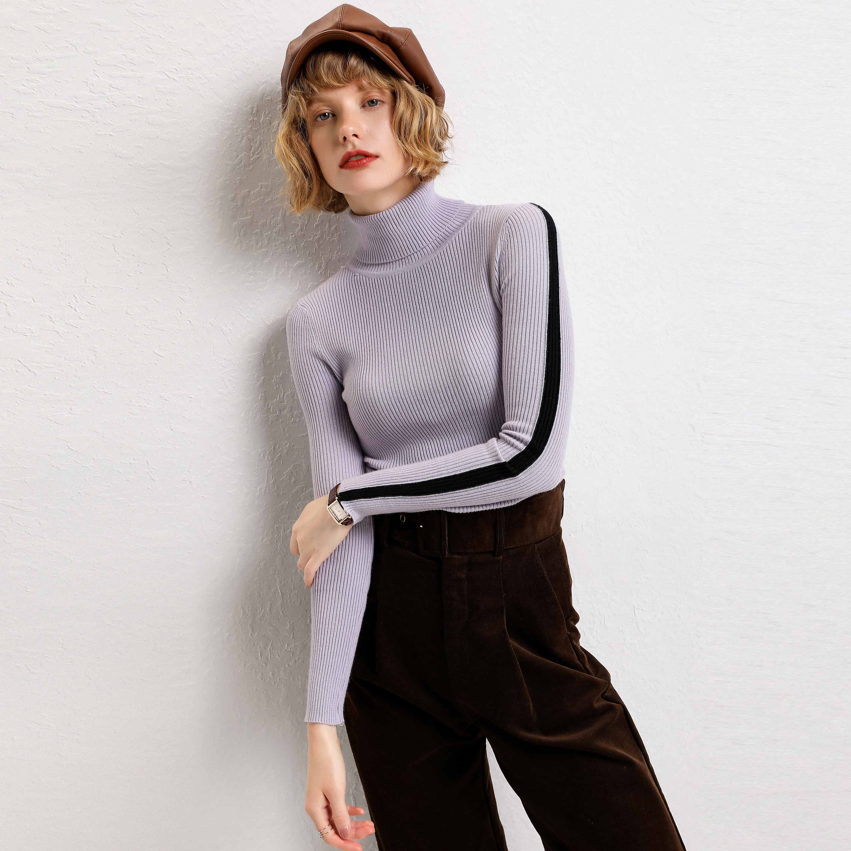 adohon 2019 woman winter 100% Cashmere sweaters and auntmun knitted Pullovers High Quality Warm Patchwork thickening Turtleneck thumbnail