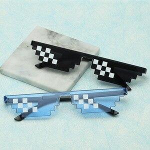 Image 1 - TTLIFE забавные мужские очки Thug Life солнцезащитные очки мозаика мужские 8 бит стиль пиксель смешной аксессуар черный полигональный Óculos