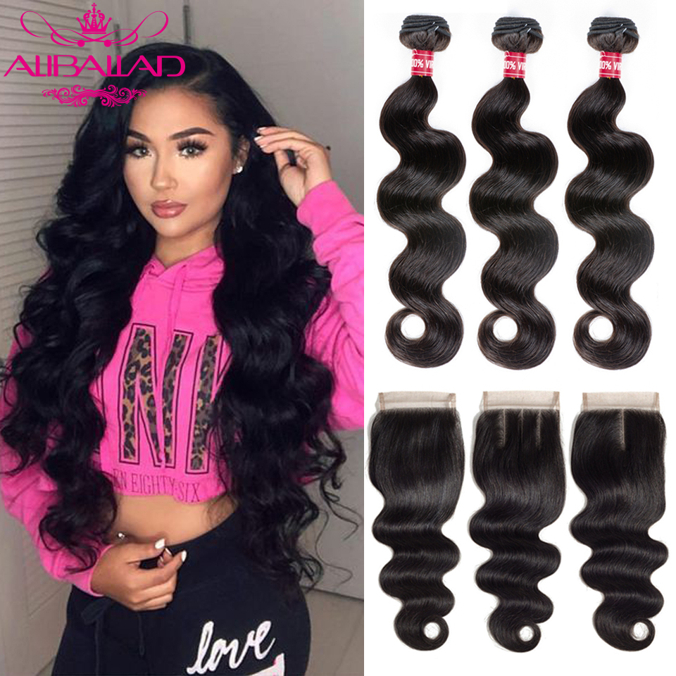 Aliballad Brazilian Body Wave Bundles With Closure 4x4 Inch High Ratio  Remy Human Hair Weave Extension 3 Bundles With Closure