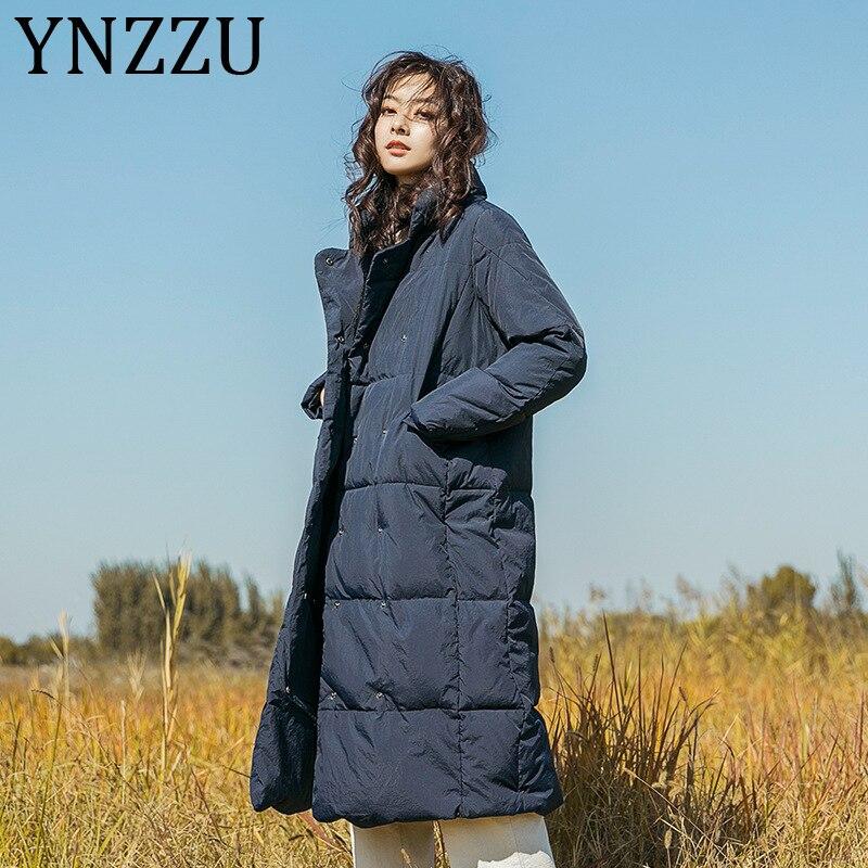 YNZZU 2019 New Winter Women Jacket Fashion Duck Down Coat High Quality Long Parkas Stand Collar Warm Coat Brand Clothing A1314